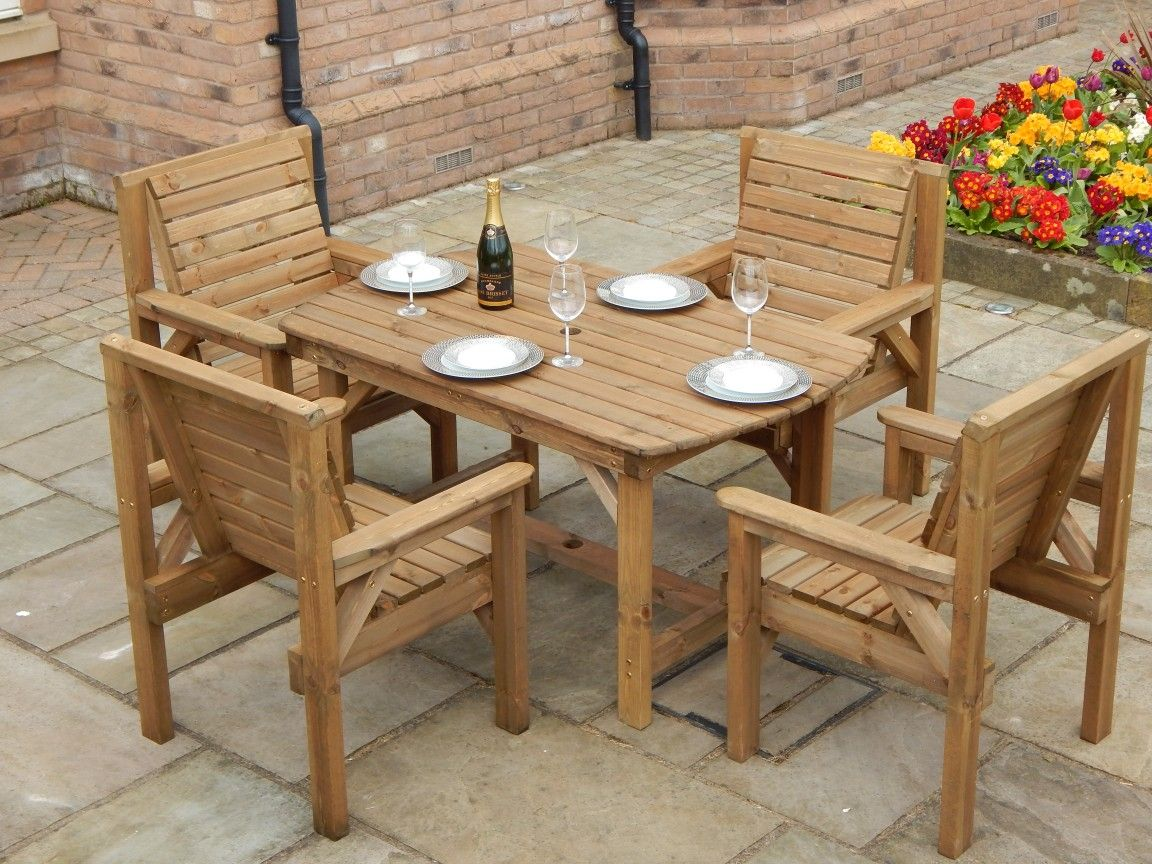 4ft6 Table Set Including 4 Chairs, Wooden Table Chairs For Garden